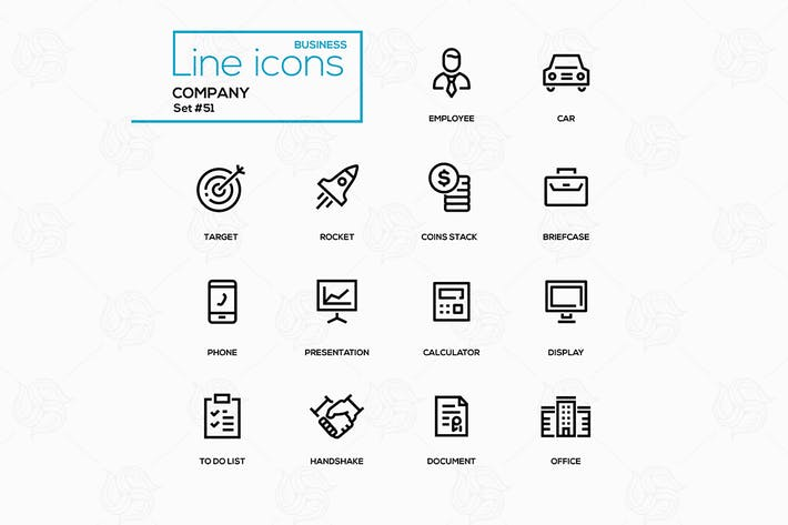 Cover Image For Business concept, company - line design icons set