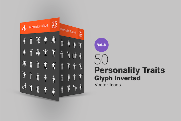 Thumbnail for 50 Personality Traits Glyph Inverted Icons
