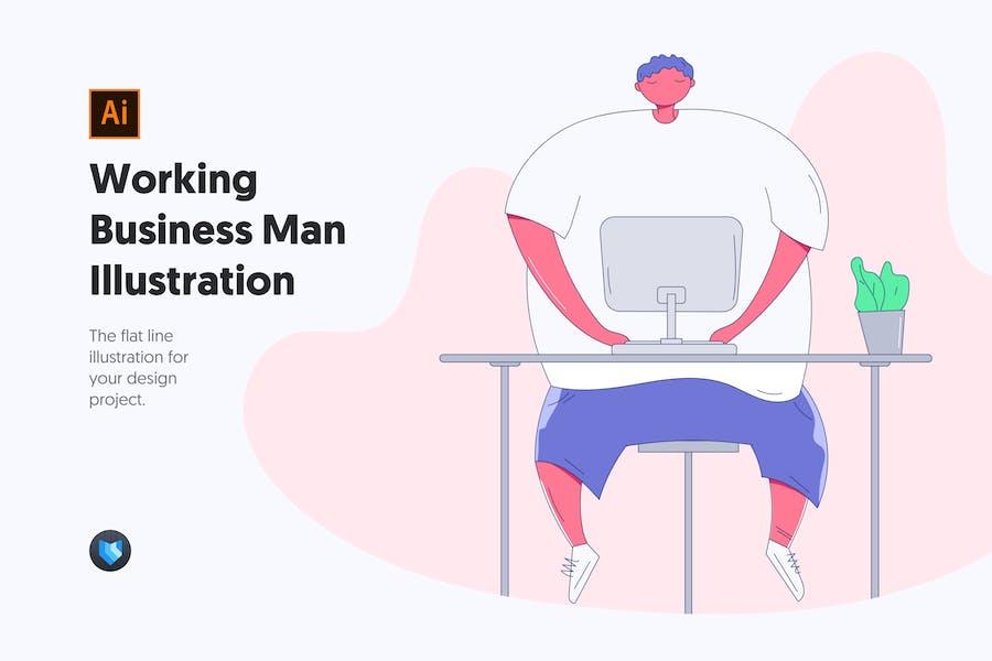 Working Business Man - Flache Linie Illustration