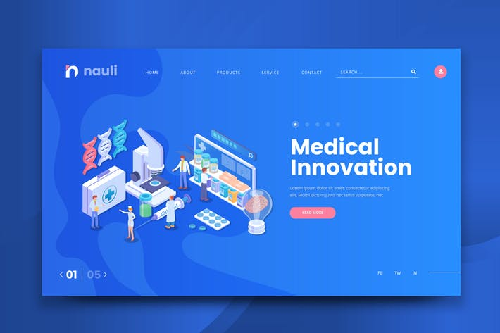 Thumbnail for Isometric Medical Innovation Web PSD and AI Vector
