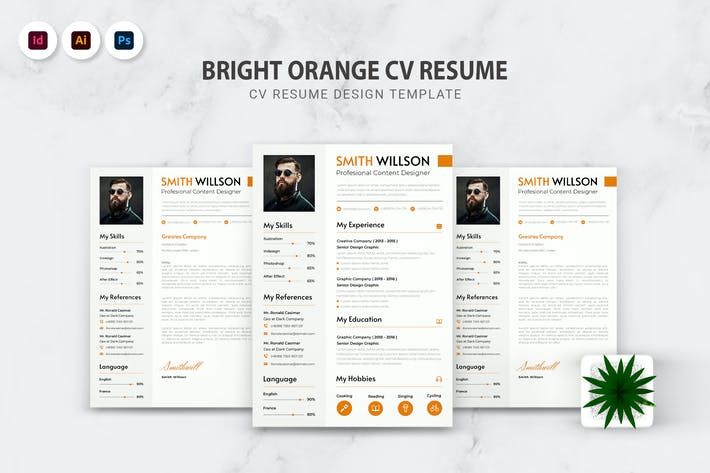 Thumbnail for Bright Oranges CV Resume