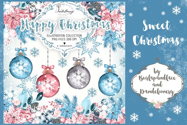 Happy Christmas Winter Blue design