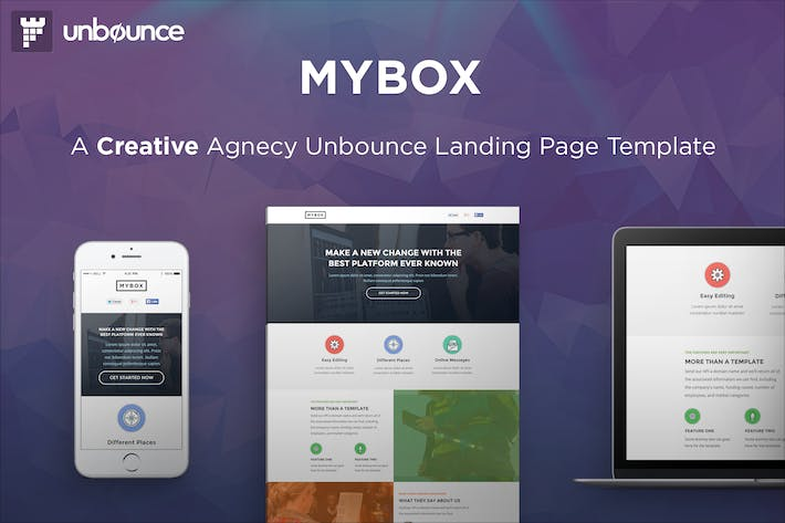 Thumbnail for MyBox - Agnecy Unbounce Landing Page Template