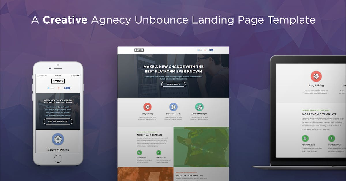 Download MyBox - Agnecy Unbounce Landing Page Template by PixFort