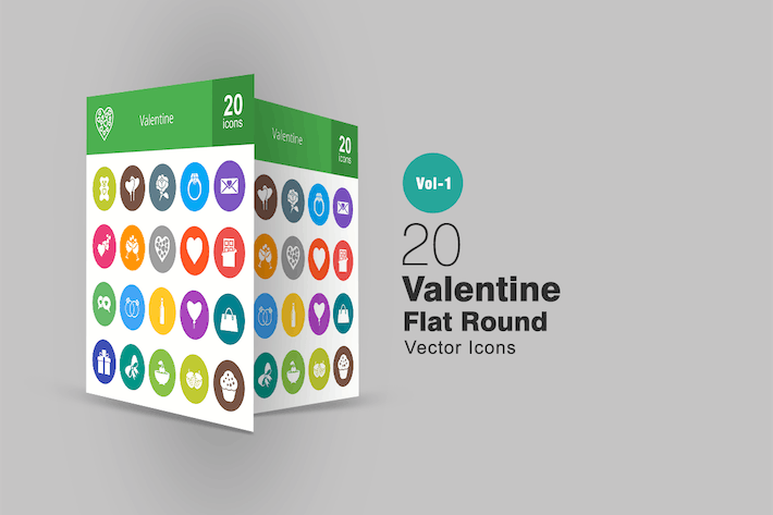 Thumbnail for 20 Valentine Flat Round Icons