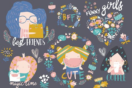 Vector set of cute girls with flowers and wreath.