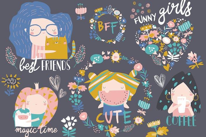 Thumbnail for Kit Vector de chicas lindas con flores y corona.