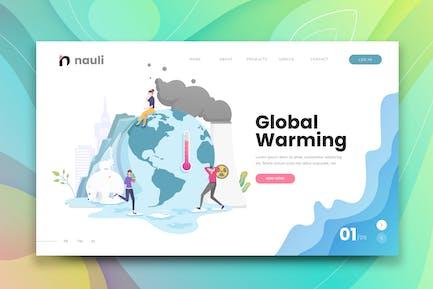 Global Warming Web PSD und AI Vektor Vorlage