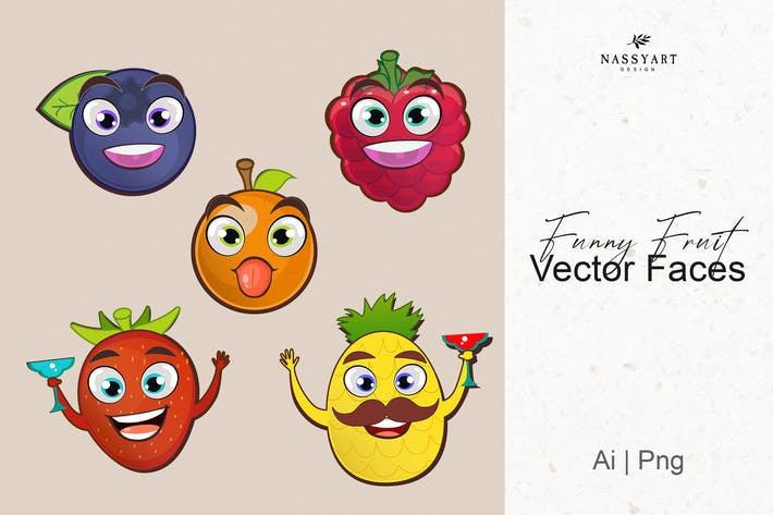 Thumbnail for Vector Funny Fruits