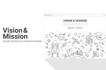 Vision und Mission Doodle HintergrundVorlage