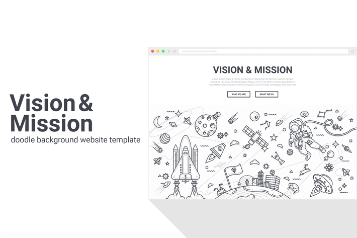 Thumbnail for Vision and Mission Doodle Background Template