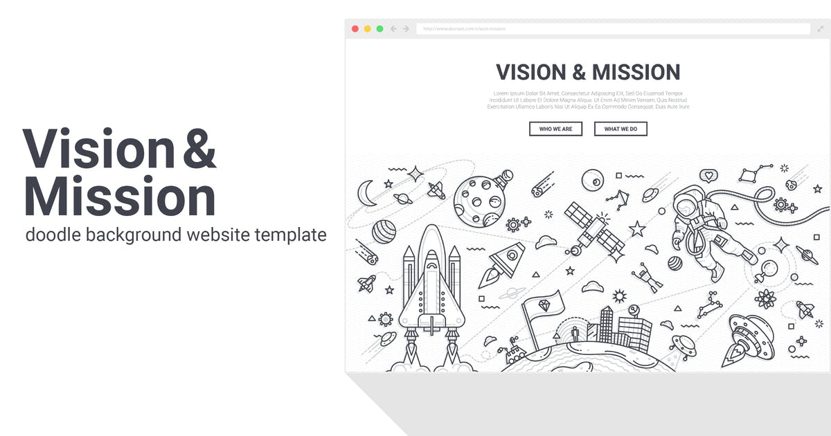 Vision and Mission Doodle Background Template by Krafted