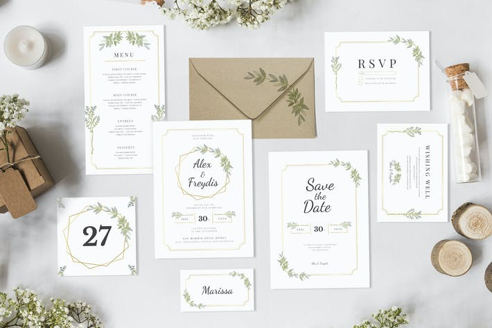 Thumbnail for White Minimalist Bay Laurel - Wedding Invitation