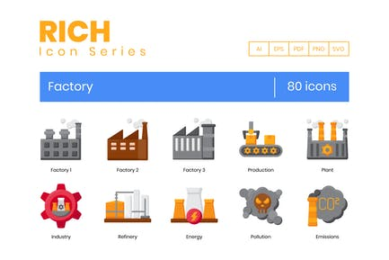 80 Factory Icons - Rich Series (AI, EPS, PDF, PNG)
