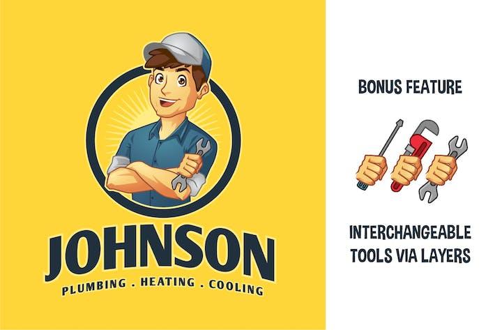 Thumbnail for Cartoon Mechaniker Handyman Klempner Maskottchen Logo