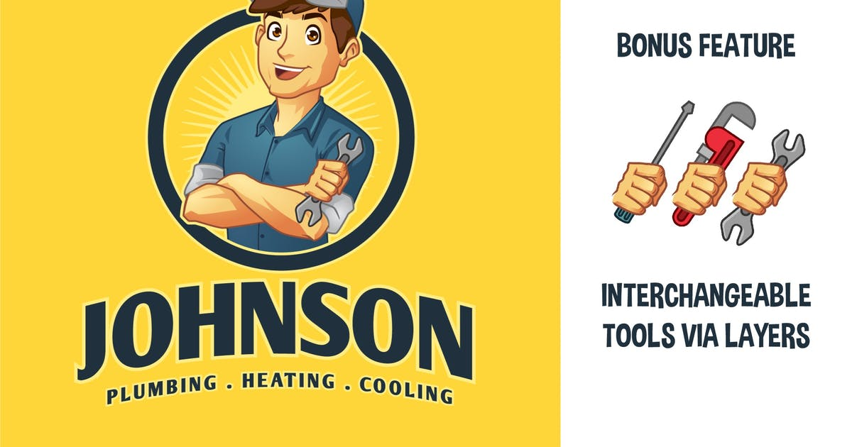 Download Cartoon Mechanic Handyman Plumber Mascot Logo by Suhandi
