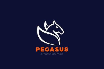 Pegasus Horse Wings Logo Equestrian Elegant design