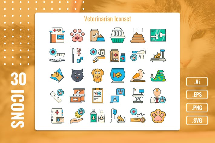 Thumbnail for 30 Iconset Veterinarian with 5 styles variant