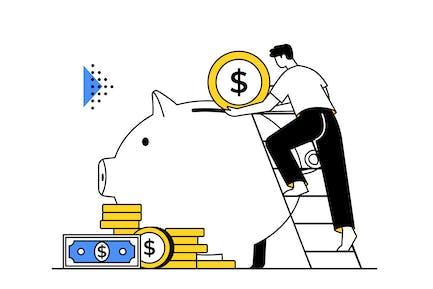 Saving Money & Financial Management Illustration