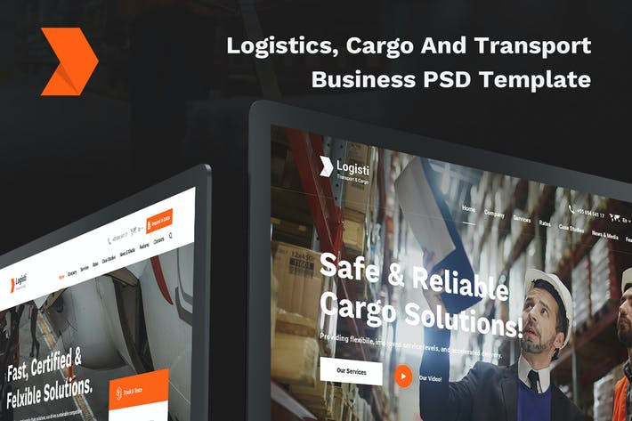 Thumbnail for Logisti Logistics, Cargo & Transport PSD Template