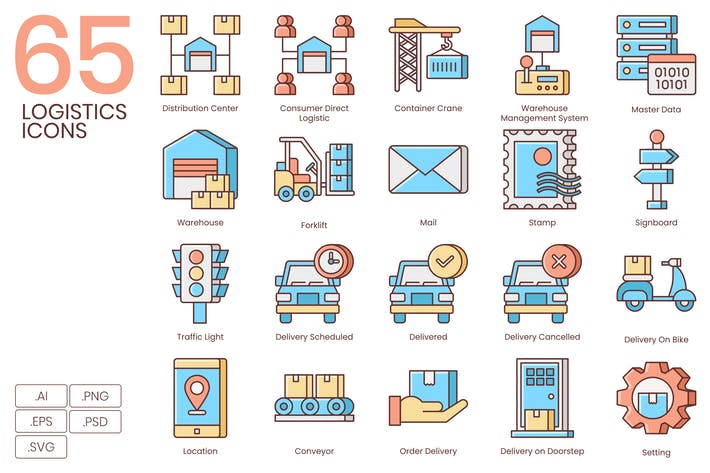 Thumbnail for 65 Logistics Icons | Honey Series