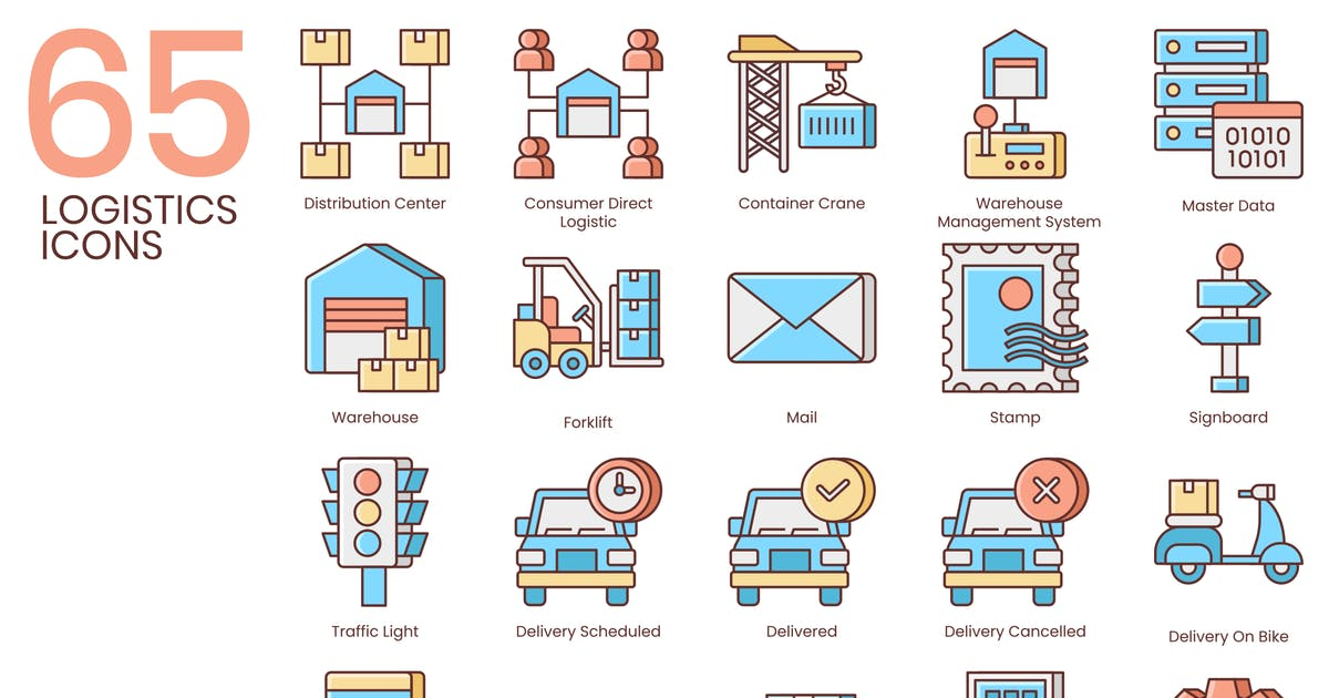 Download 65 Logistics Icons | Honey Series by Krafted