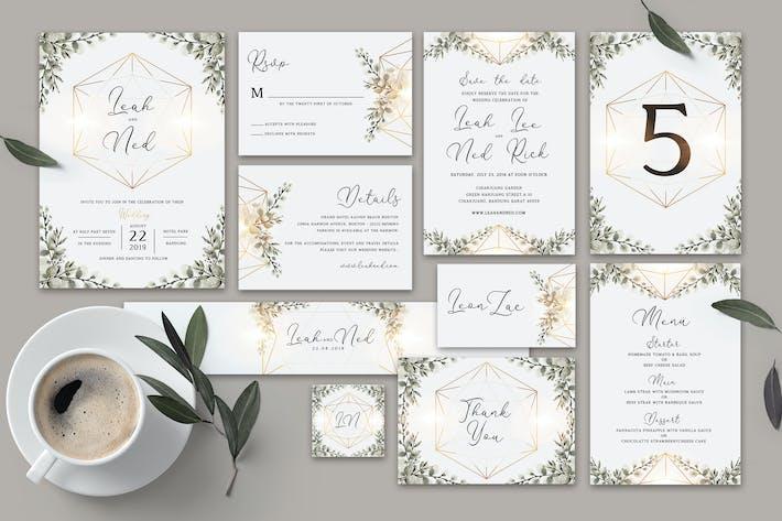Thumbnail for Geometric Wedding Invitation Set
