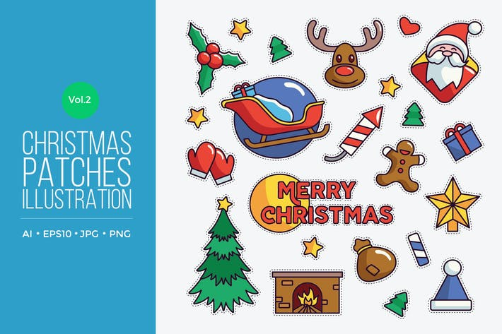 Thumbnail for Cute Merry Christmas Patches Vector Vol.2