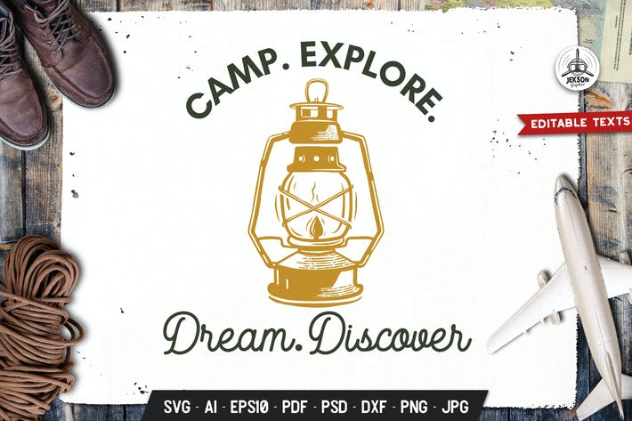 Thumbnail for Camp Explore Logo Badge Vector Travel Graphic SVG