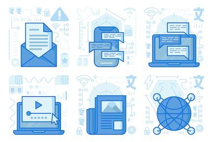 Chat-Laptop-UI-UX-Illustrationen