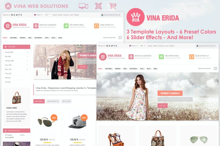 Thumbnail for Vina Erida - Multipurpose Joomla 3.x Template