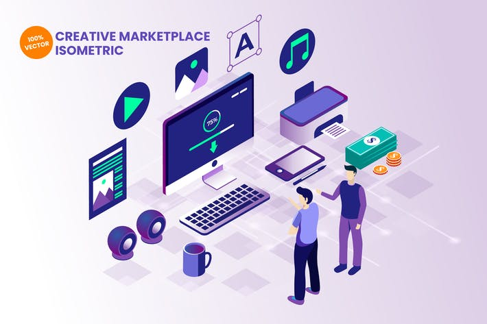 Thumbnail for Isometric Creative Marketplace Vector Illustration