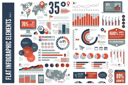 Flat Vector Infographic Elements Vol 1