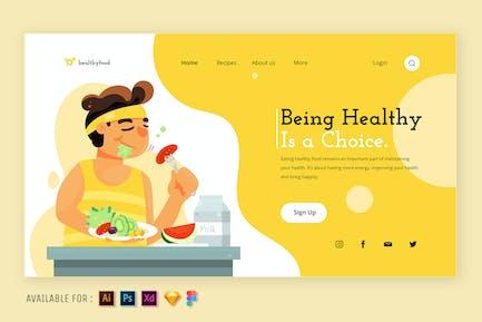 Eating Healthy Food  - Web Illustration
