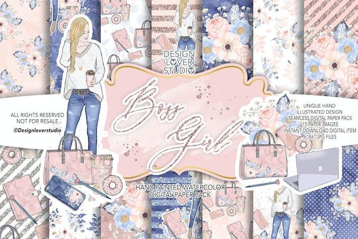 Thumbnail for Boss girl digital paper pack