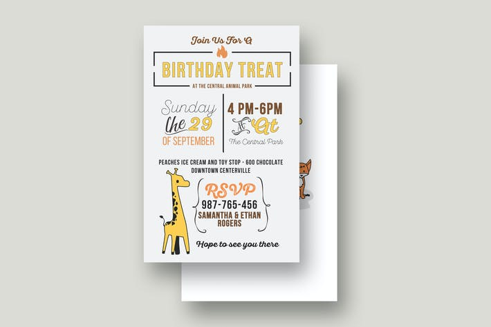 Thumbnail for Cute Animales Birthday Invitation Card