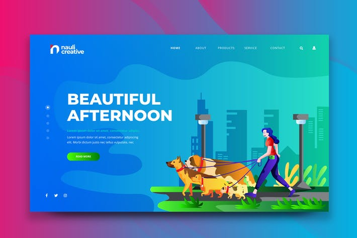 Thumbnail for Beautiful Afternoon Web PSD and AI Vector Template