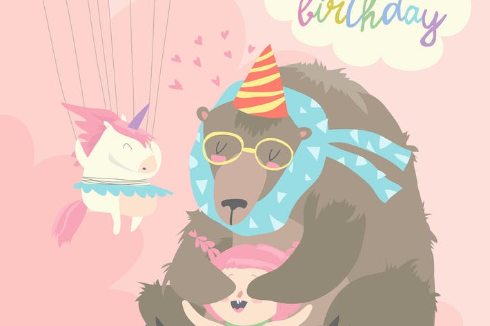 Thumbnail for Little girl celebrating Birthday with bear. Vector
