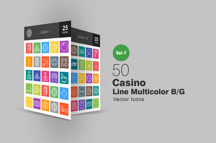 Thumbnail for 50 Casino Line Multicolor B/G Icons
