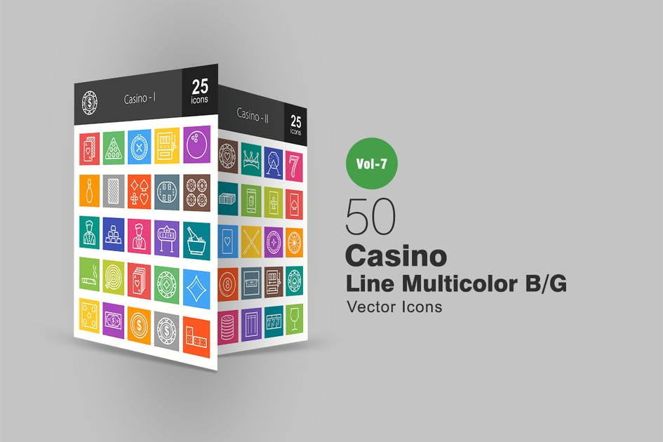 Download 50 Casino Line Multicolor B/G Icons by IconBunny