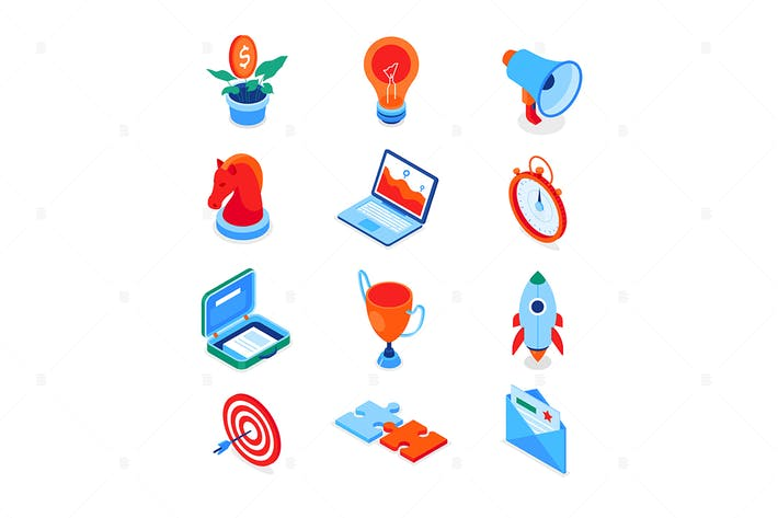 Thumbnail for Business and marketing - modern isometric icons