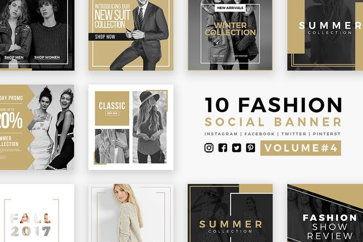 Thumbnail for Fashion Social Media Banners - Kit 04