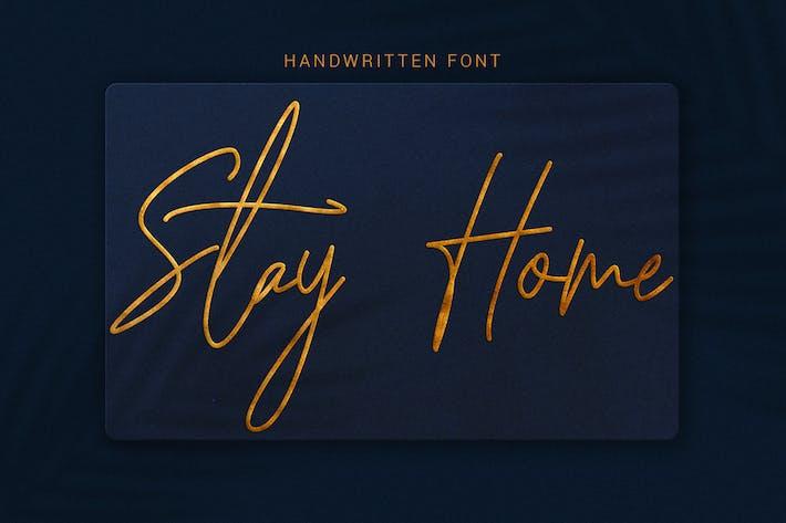 Thumbnail for Stay Home - Police de caractères modernes à la main