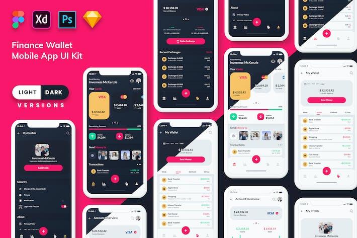 Thumbnail for Finance Wallet Mobile App UI Kit (Light & Dark)