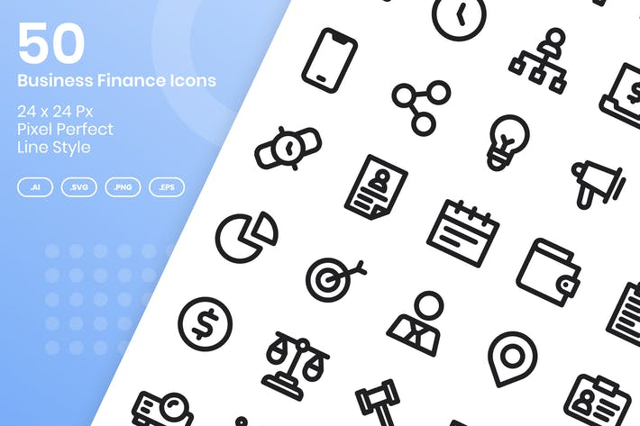 Thumbnail for 50 Business Finance Icons Set - Line