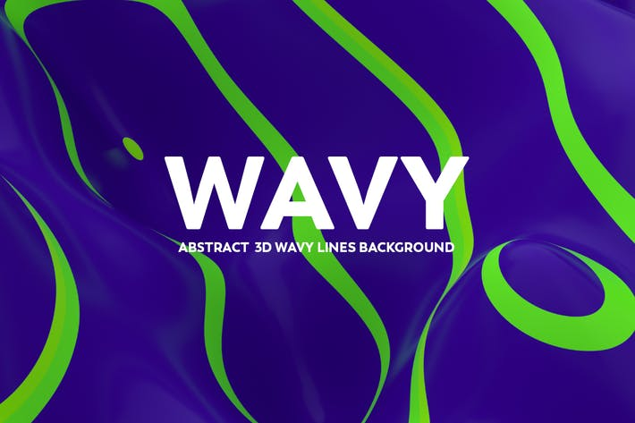 Thumbnail for Abstract  3D Wavy Lines Background -Green and Blue
