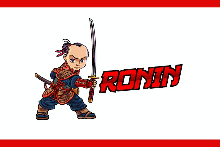 Thumbnail for Cartoon Ronin Samurai Character Mascot Logo
