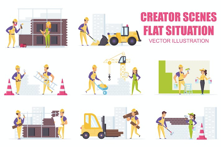 Thumbnail for Collection Industry Worker Flat Scene Situation