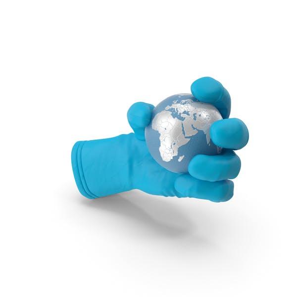 Медицинская перчатка, удерживающая высокотехнологичную землю