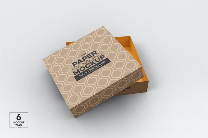Thumbnail for Small Square paper Box & Lid Mockup